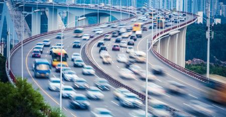 car traffic on bridge
